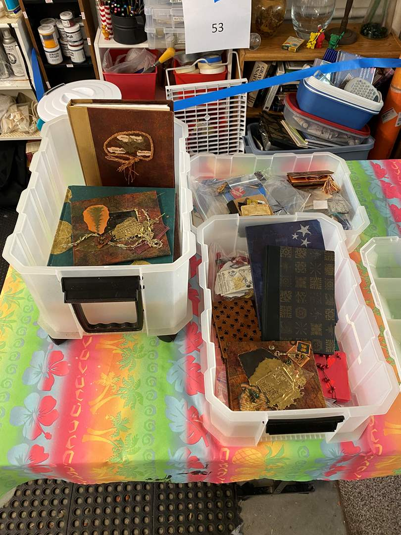 Lot # 67 - Tote full of NEW handmade books/journals-  (main image)