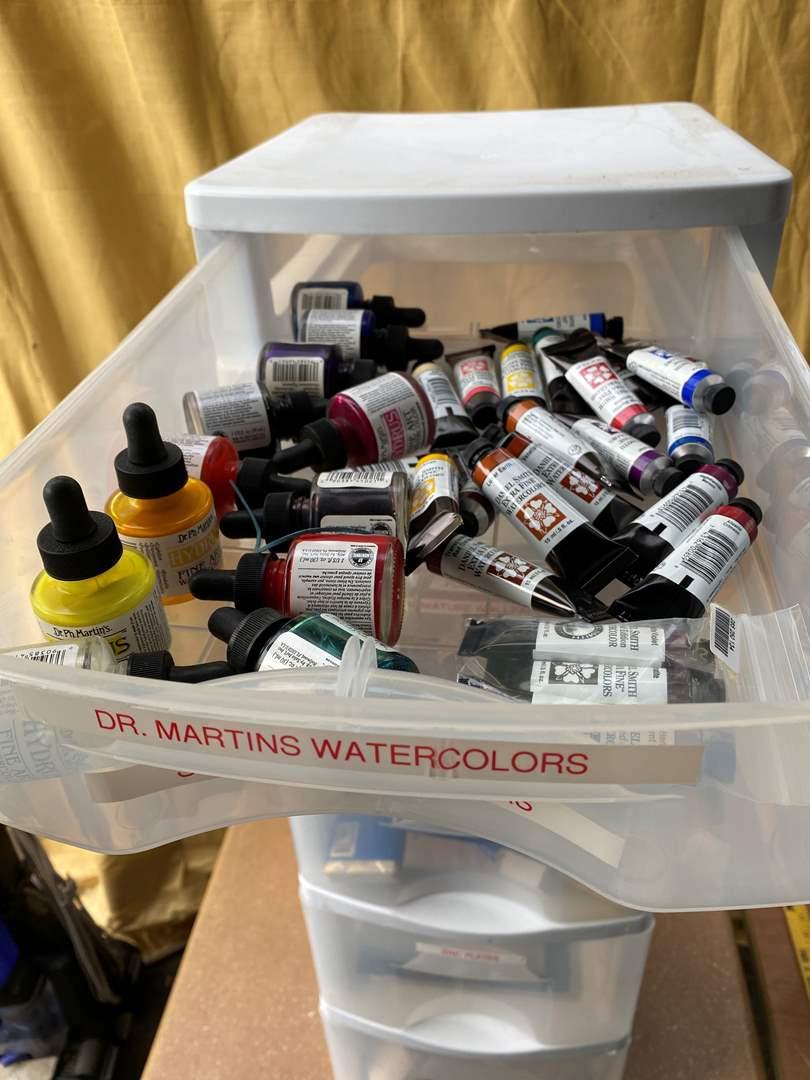 Lot # 74 - Caddy full of art supplies (main image)