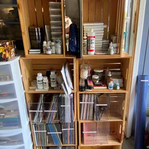 Lot # 75 - HUGE lot of rubber stamp pads and supplies - includes wooden crates