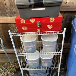 Lot # 87 - Teddy Bear Making supplies, tools and Rack