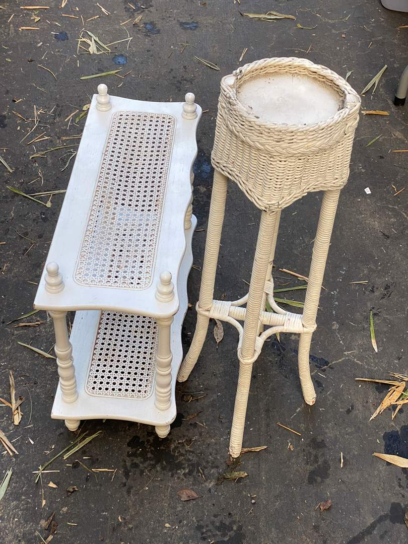 Lot # 90 - End Table, Plant Stand & Chair (main image)