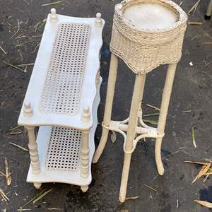Lot # 90 - End Table, Plant Stand & Chair