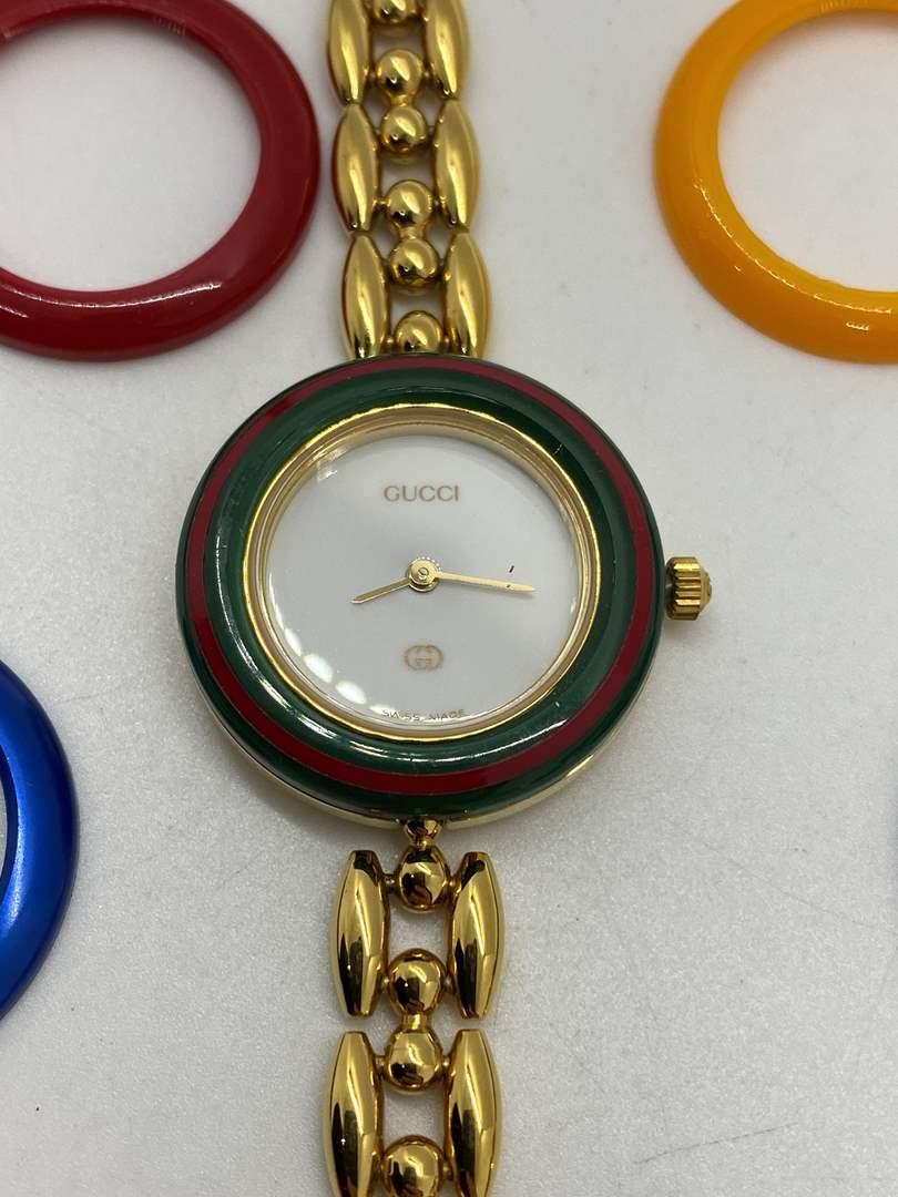 "Lot # 92 -  Gucci 11/12.2 Ladies Watch Interchangeable Bezel - Circa 1980""s (main image)"