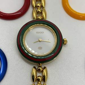 "Lot # 92 -  Gucci 11/12.2 Ladies Watch Interchangeable Bezel - Circa 1980""s"