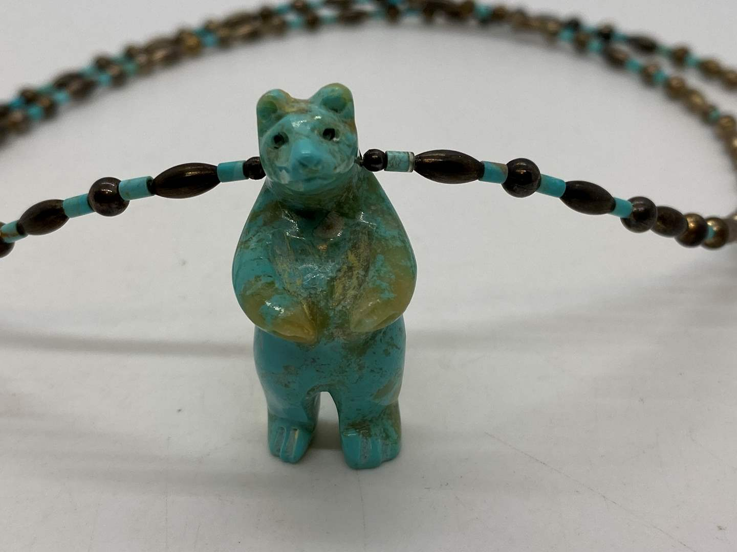 Lot # 101 - Turquoise Bear & Silver Bead Necklace (main image)