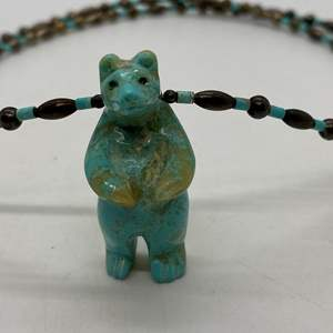 Lot # 101 - Turquoise Bear & Silver Bead Necklace