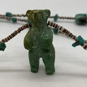 Lot # 102 - Turquoise Bear Necklace