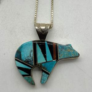 Lot # 111 - Zuni Sterling Silver Bear, Turquoise and Black Onyx Necklace