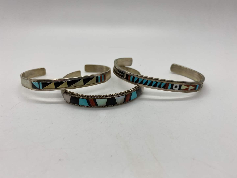 Lot # 113 - Zuni Native American Silver Bangles (main image)