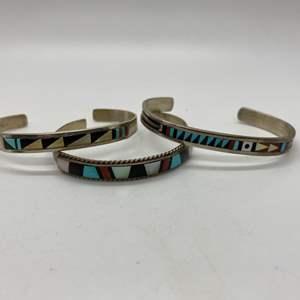 Lot # 113 - Zuni Native American Silver Bangles