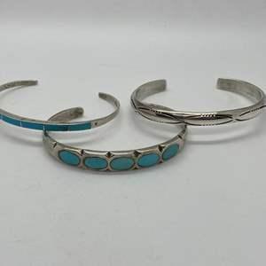 Lot # 114 - Native American Silver Bracelets