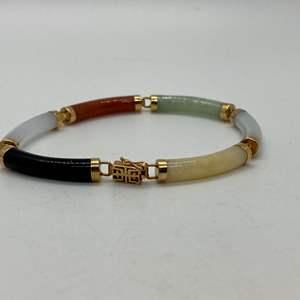 Lot # 122 - 14k Gold and Multi Color Jade Link Bracelet