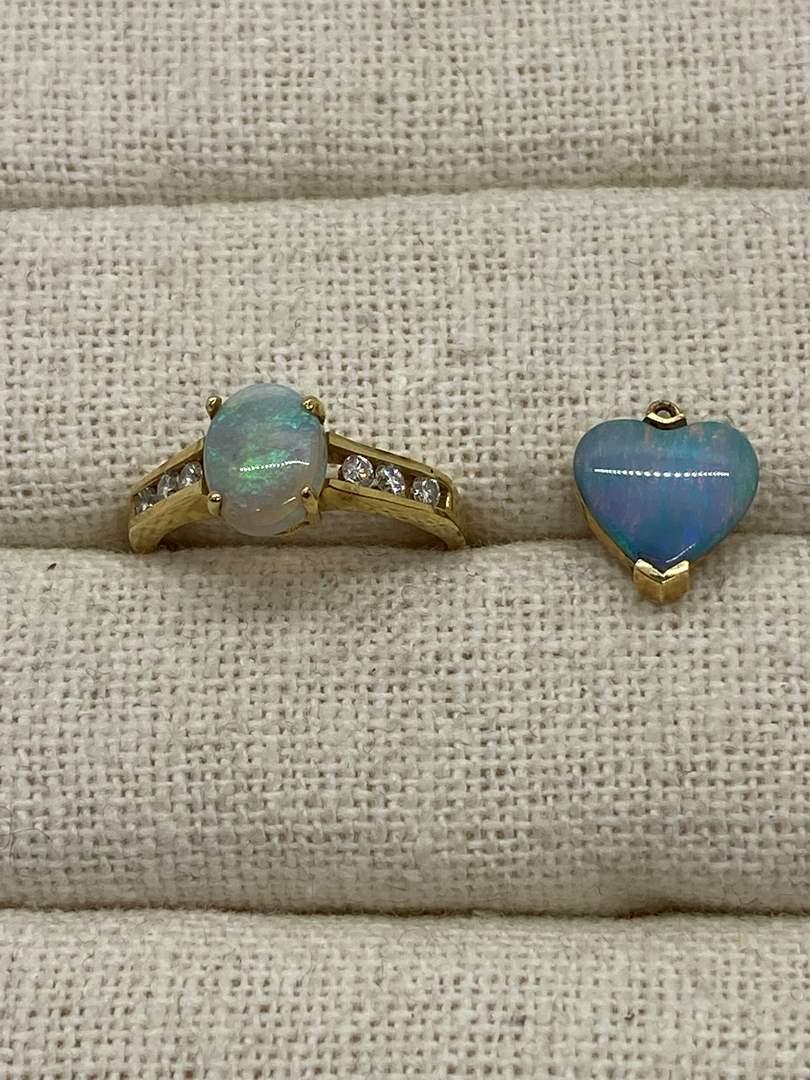 Lot # 136 - 14k Gold Opal & Diamond Jewelry (main image)