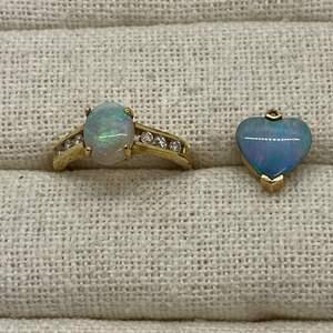Lot # 136 - 14k Gold Opal & Diamond Jewelry