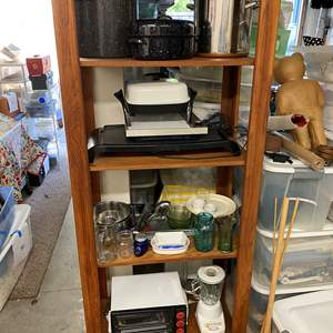 Lot # 188 - Wooden Shelf with Kitchen Items