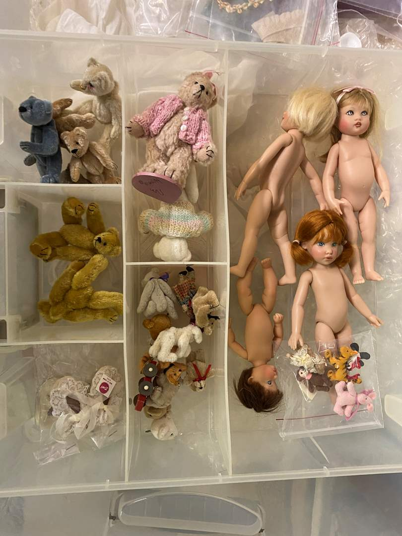 Lot # 190 - Extra Large Tote of Porcelain Dolls, Parts and Bears (main image)