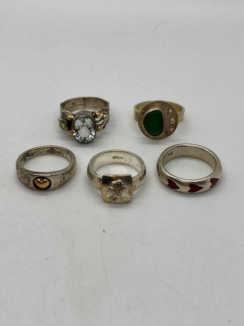 Lot # 200 - Silver Rings w/Various Stones (main image)