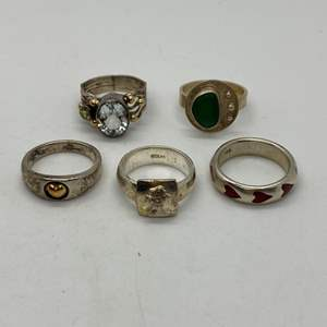 Lot # 200 - Silver Rings w/Various Stones