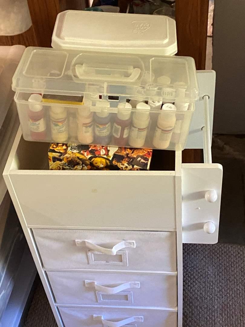 Lot # 230 - Rolling Art caddy full of art supplies (main image)