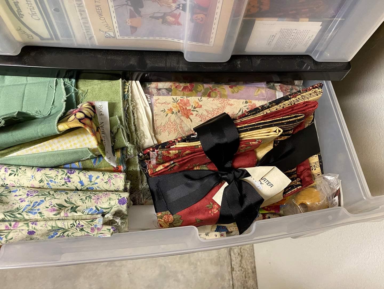 Lot # 235 - 3-drawer cubby full of fabrics (main image)