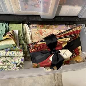 Lot # 235 - 3-drawer cubby full of fabrics