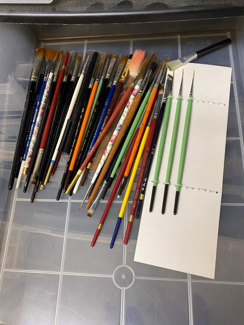 Lot # 236 - 6-drawer cubby full of art supplies (main image)