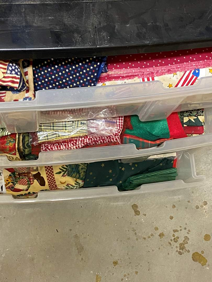 Lot # 242 - 3-drawer cubby full of fabric (main image)