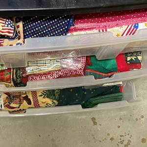 Lot # 242 - 3-drawer cubby full of fabric