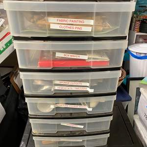 Lot # 260 - 6-Drawer cubby full of art supplies