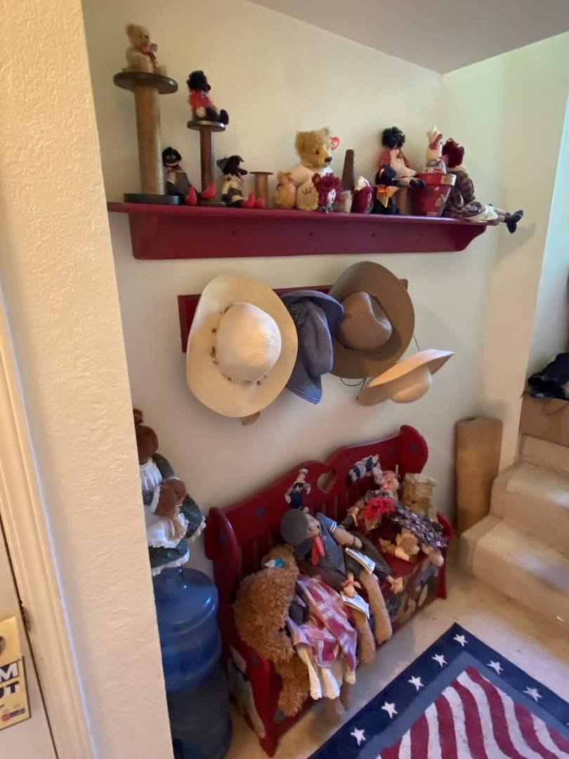 Lot # 274 - Hallway Full of Great Dolls, Bears, Bench and Decor (main image)