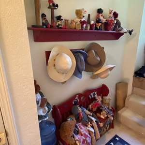 Lot # 274 - Hallway Full of Great Dolls, Bears, Bench and Decor