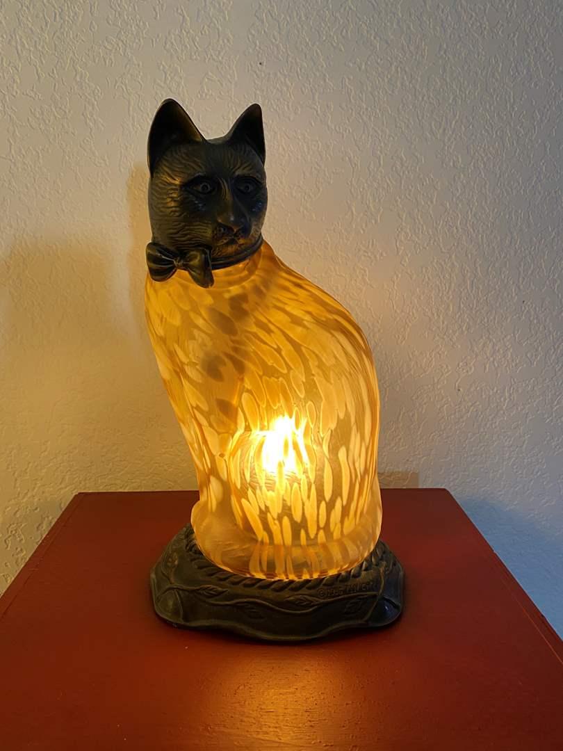 Lot # 289 - Tin Chi 1996 Bronze Art Glass Cat Lamp (main image)