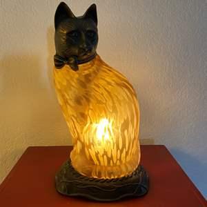 Lot # 289 - Tin Chi 1996 Bronze Art Glass Cat Lamp
