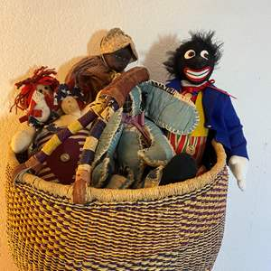 Lot # 292 - Free Trade Market Basket With Collectable Dolls