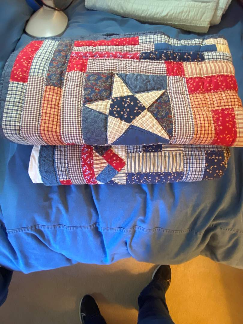 Lot # 294  - Hand Made Patriotic Quilt and Throw  (main image)