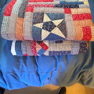 Lot # 294  - Hand Made Patriotic Quilt and Throw