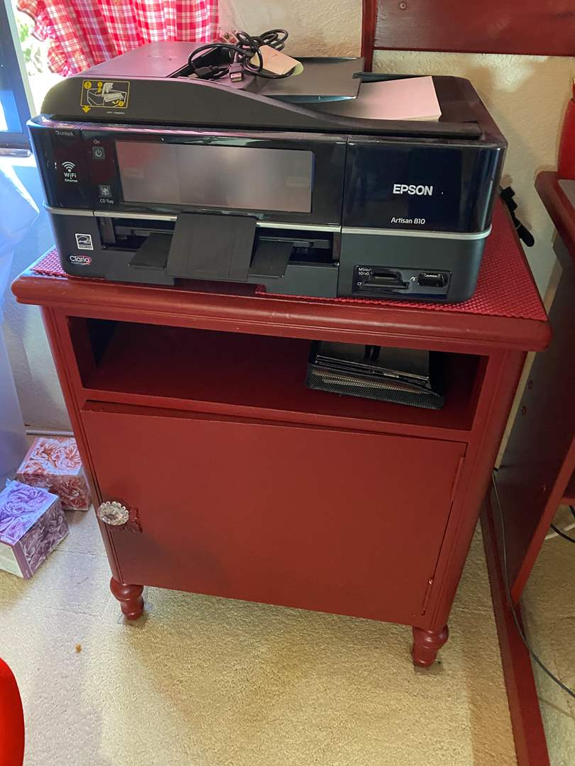 Lot # 303 - Cabinet and Epson Artisan 810 Printer with Supplies  (main image)