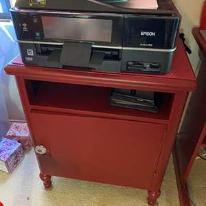 Lot # 303 - Cabinet and Epson Artisan 810 Printer with Supplies