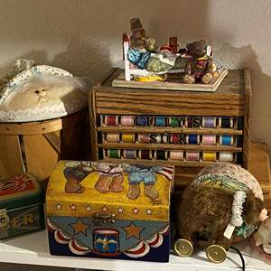 Lot # 324 - Vintage Thread Drawer and Decor Items