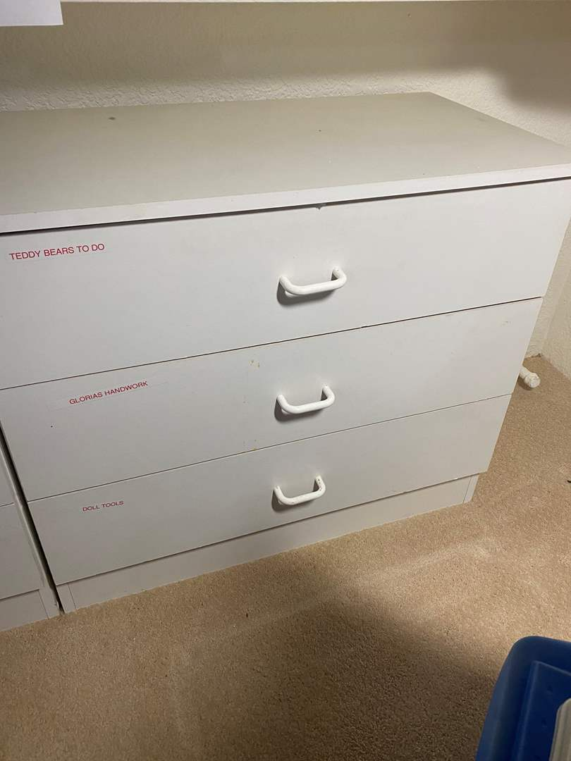 Lot # 333 - 3-Drawer Cabinet Full of Crafting Goods (main image)