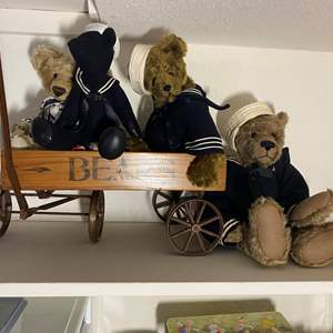 Lot # 334 - Sailor Bears in a Vintage Bear Cart