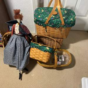Lot # 340 - Baskets and Sewing Buckets & a Lil Lady