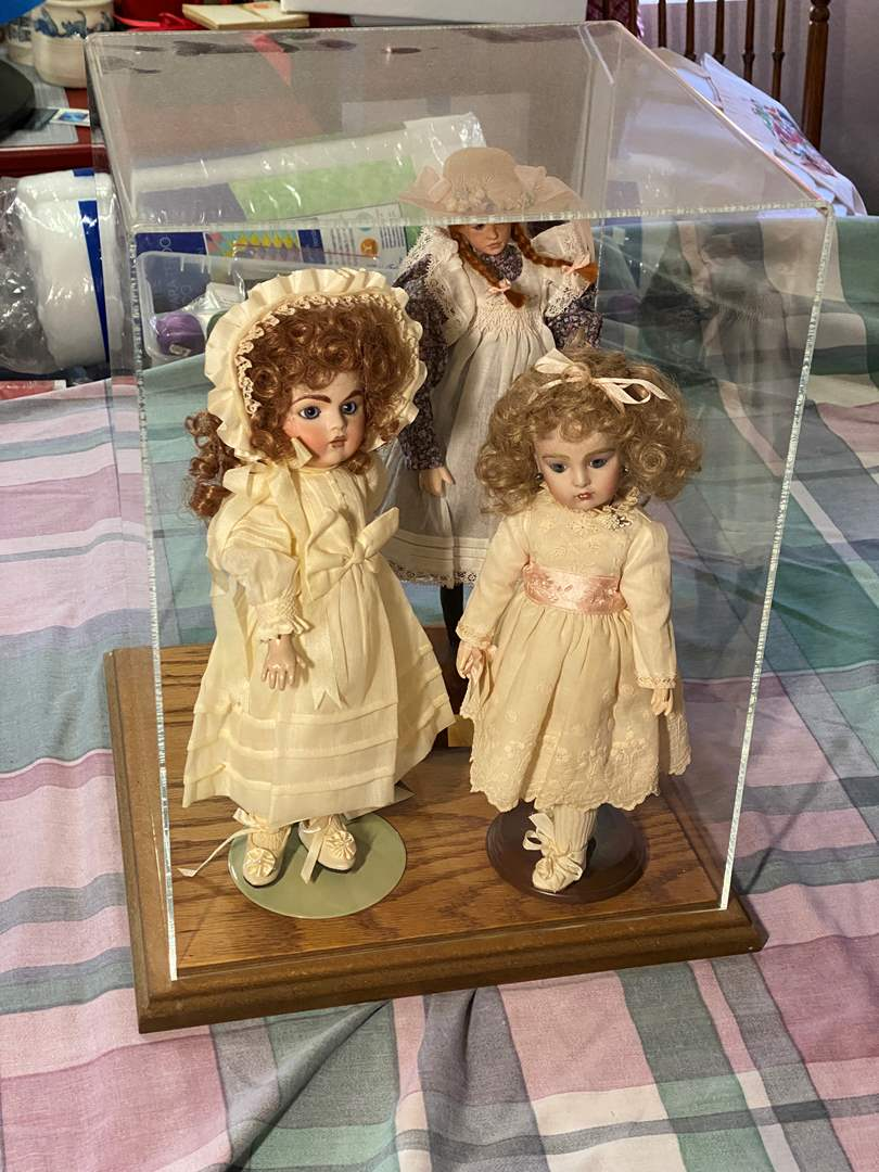 Lot # 359 - 3-Dolls in a Display Case (main image)