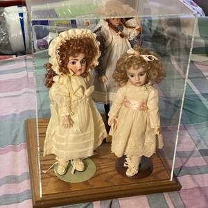 Lot # 359 - 3-Dolls in a Display Case