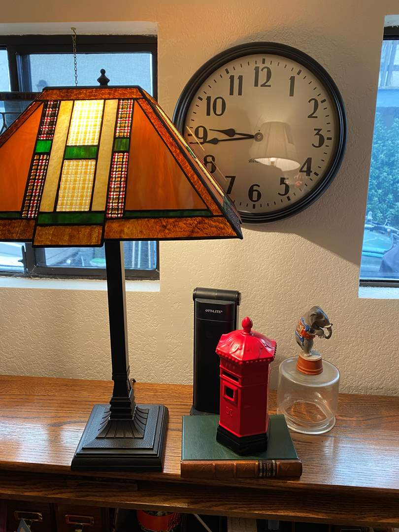 Lot # 375 - Desktop Treasures, Lamp, Clock & Decor (main image)