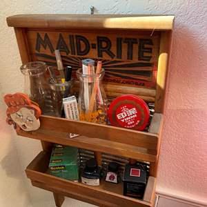 Lot # 382 - Vintage Washboard Shelf, Decor & Picture