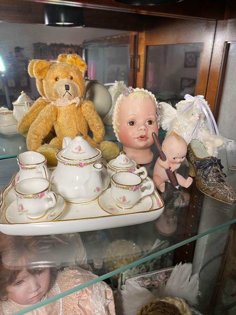 Lot # 391 - Doll Tea Set & Friends (main image)