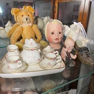 Lot # 391 - Doll Tea Set & Friends