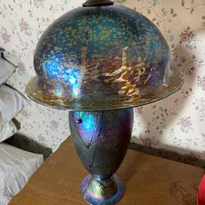 Lot # 448 - Art Glass Lamp With Matching Shade  - Needs a Finial