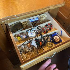 Lot # 449 - Tall Jewelry Chest With Jewelry